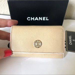 Chanel Beige Caviar CC Logo Key Holder Case Auth